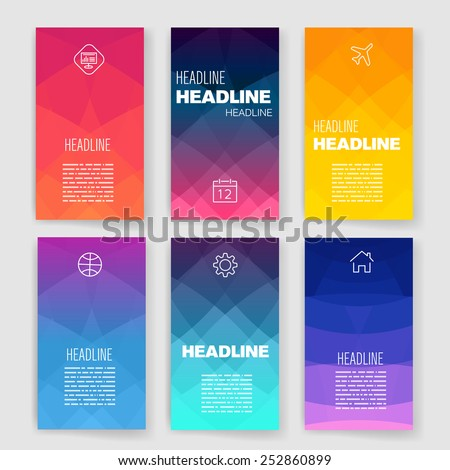 Templates. Design Set of Web, Mail, Brochures. Mobile, Technology, and Infographic Concept. Modern flat and line icons. SaaS, web app design template. Mobile interface. UI template. Web UI app design. - stock vector