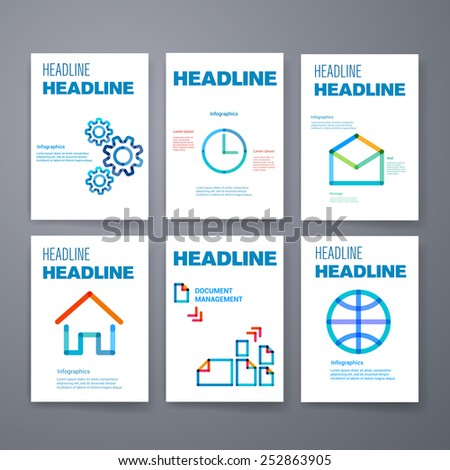 Templates. Design Set of Web, Mail, Brochures. Mobile, Technology, and Infographic Concept. Modern colorful line icons. SaaS, web app design template. Mobile interface. UI template. Web UI app design. - stock vector