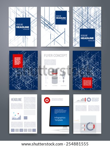 Templates. Design Set of Web, Mail, Brochures. Mobile, Technology, and Infographic Concept.  SaaS, web app design template. Mobile interface. UI template. Web UI app design. - stock vector