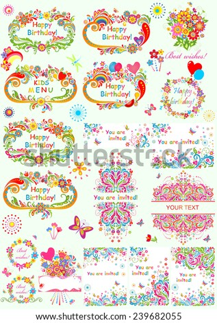 Templates for birthday party - stock vector