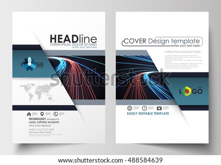 Templates for brochure, magazine, flyer, booklet or report. Cover template, easy editable blank, flat layout in A4 size. Abstract lines background with color glowing neon streams, motion design vector
