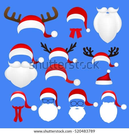 Templates for picture reindeer antlers and a hat with a beard an