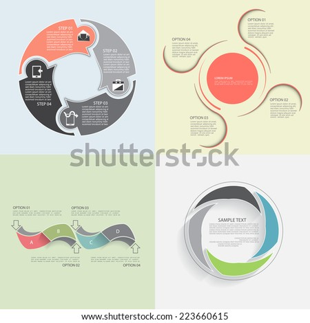 Templates for presentation, business concept with four steps or processes - stock vector