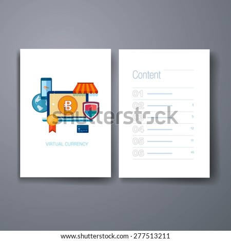 Templates. Set of modern flat design icons of emerging virtual currency and online finances. Flat design bitcoin concept icons for web and mobile phone services and apps. Online commerce. - stock vector