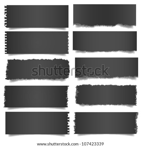 Ten black notes paper .Vector eps 10 - stock vector