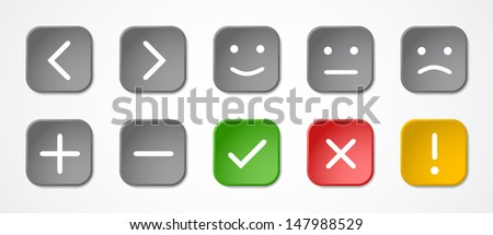Ten colored buttons with symbols and emoticons