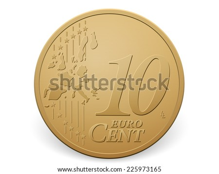 Ten euro cent coin on a white background. - stock vector