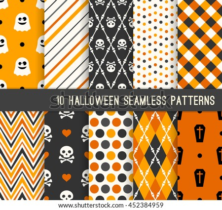 Ten Halloween different seamless patterns. Endless texture for wallpaper, web page background, wrapping paper and etc. Ghost, skull, bones and coffin.