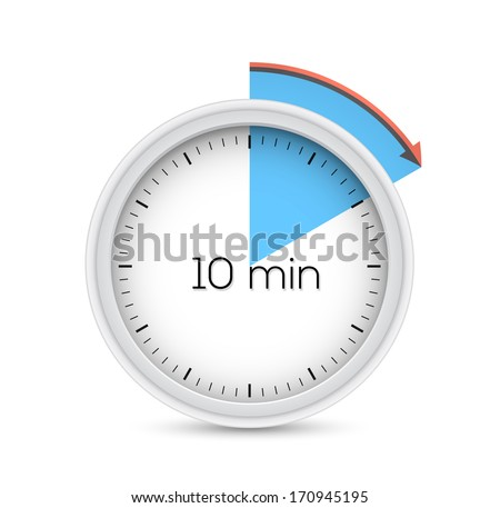 Ten minutes stopwatch timer. Vector illustration. - stock vector