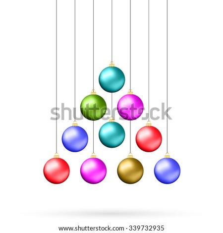 Ten multicolored Christmas balls hanging like fir tree isolated on white background - stock vector