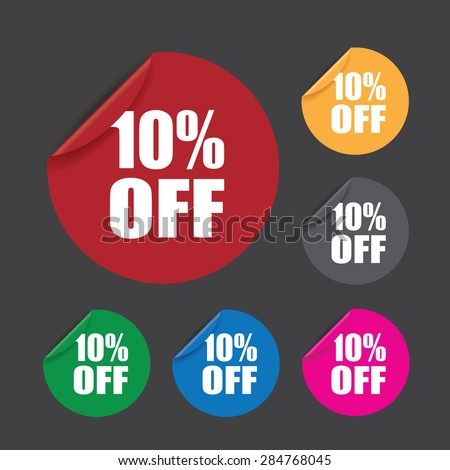 ten percent off stickers - stock vector