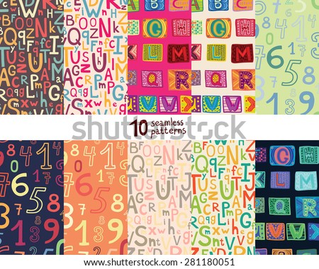 Ten seamless pattern with alphabet and numbers. - stock vector