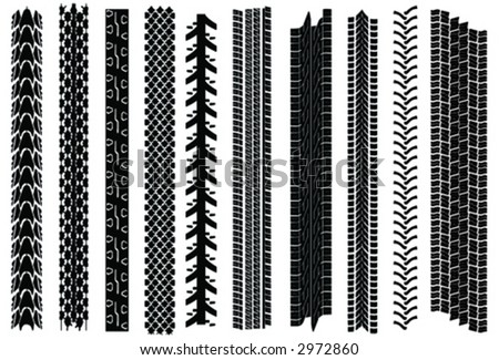 Ten tire tracks. Very realistic from real life. From kids bike, to racing bike, to winter-tire to truck, etc. Easy extensible. - stock vector