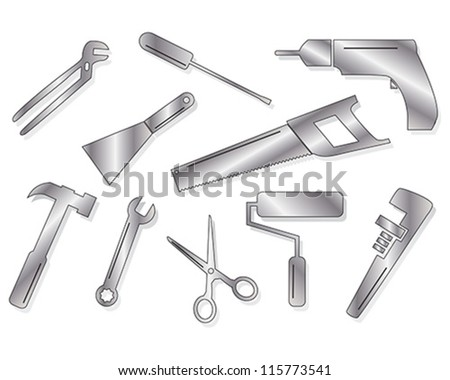 Ten vector tool shapes in gradient shades - stock vector