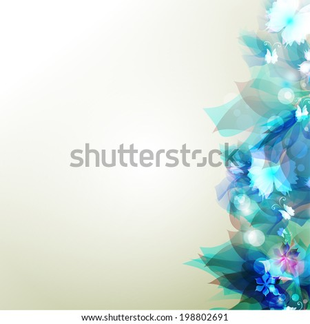Tender background with blue abstract flower - stock vector