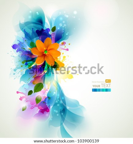 Tender background with orange abstract flower on the artistic  blobs - stock vector