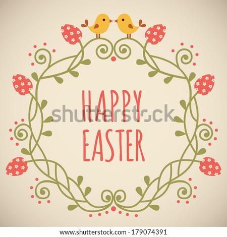 Tender Easter ornate frame with eggs. Vector illustration - stock vector