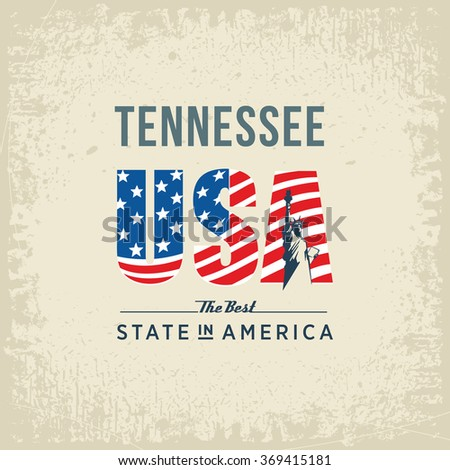 Tennessee best state in America, vintage vector illustration, white