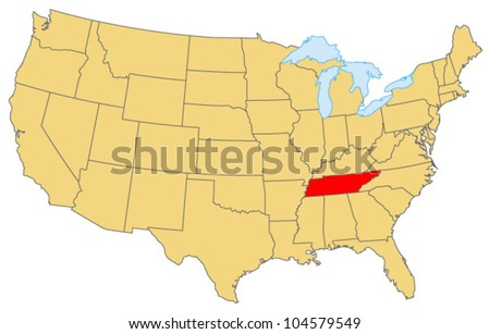Tennessee Locate Map - stock vector