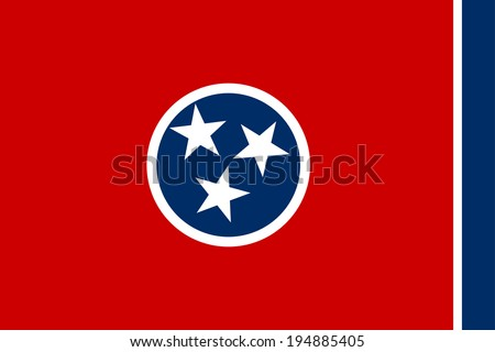 Tennessee state vector flag of America, isolated on white background. - stock vector