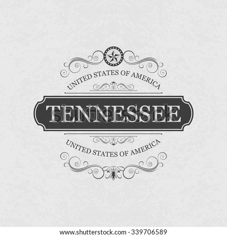 Tennessee USA State.Vintage frame.