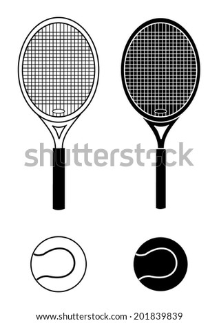 Tennis accessory - racket and ball silhouette and outline. black and white color design, vector art image illustration, isolated on white background, eps10 - stock vector