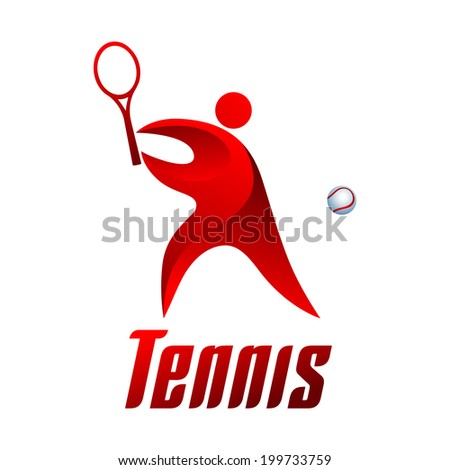 Tennis, athlete on white background, vector illustration - stock vector