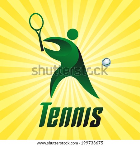 Tennis, athlete on yellow striped background, vector illustration - stock vector