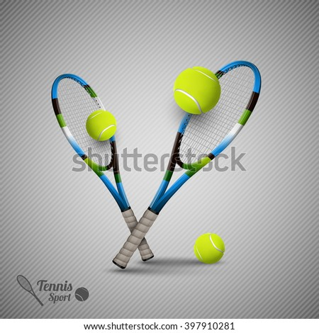 Tennis ball and racket. Sport items. Vector symbol on the gray background. - stock vector
