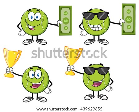 Tennis Ball Cartoon Mascot Character. Vector Illustration Isolated On White Background Collection Set 4 - stock vector