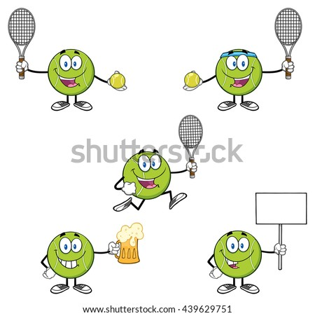 Tennis Ball Cartoon Mascot Character. Vector Illustration Isolated On White Background Collection Set 5 - stock vector