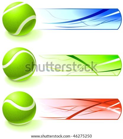 Tennis Ball Collection with Banner Original Vector Illustration - stock vector