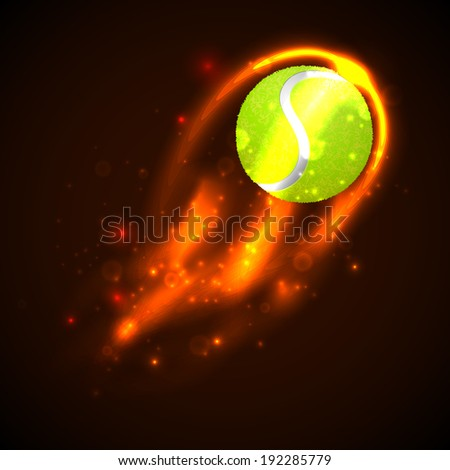 Tennis Ball on fire. Vector - stock vector
