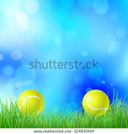 tennis ball on green grass - stock vector