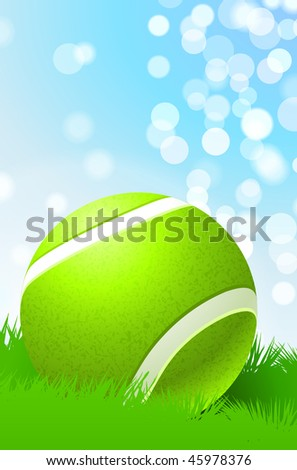 Tennis Ball on Nature Background Original Vector Illustration