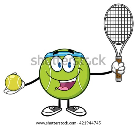 Tennis Ball Player Cartoon Character Holding A Tennis Ball And Racket. Vector Illustration Isolated On White - stock vector