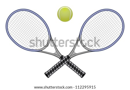 Tennis Ball & Rackets is an illustration of a tennis ball and two crossed rackets. Great for logo designs and t-shirts. - stock vector
