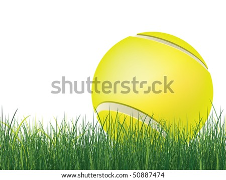 Tennis Ball with Grass isolated on white background. Vector.