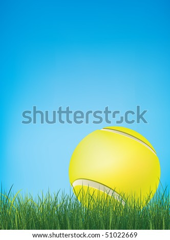 Tennis Ball with Grass. Vector.