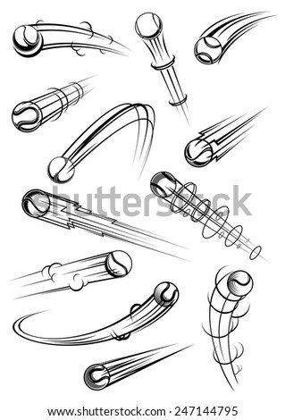 Tennis balls in outline sketch style with comics elements clouds, lightnings, motion trails for sporting and comic book design - stock vector