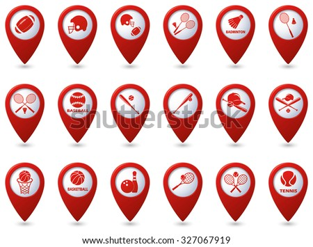 Tennis, Baseball, American football icons on red map pointers. - stock vector