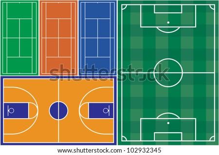 Tennis basketball and football court - stock vector
