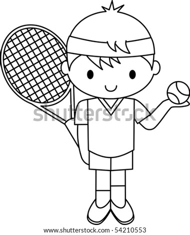 Tennis Boy - stock vector