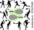 tennis collection 1 - vector - stock vector