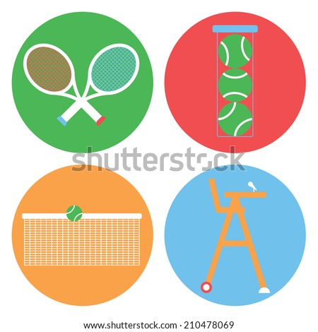 Tennis collection / Vector illustration / Tennis icons set / Flat design - stock vector