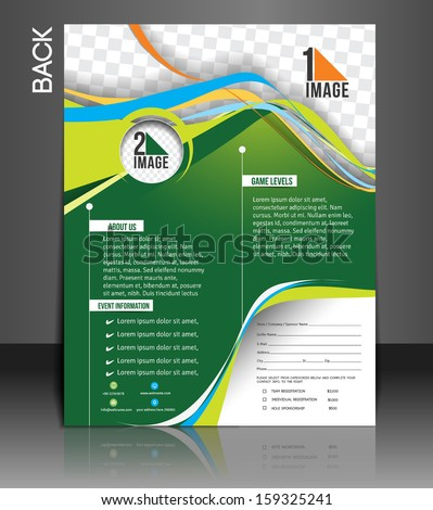 Tennis Competition Back Flyer Template - stock vector