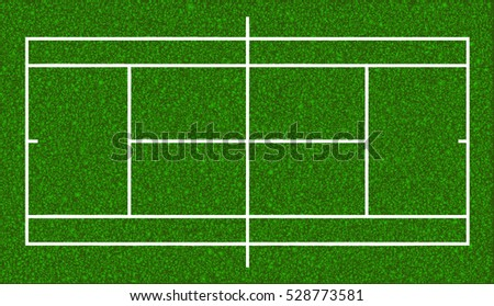 Tennis court. Realistic textured grass. Vector isolated illustration