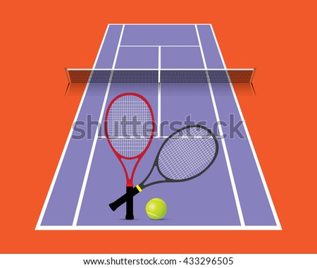 Tennis court with racket and ball vector, illustration.