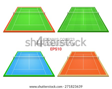 Tennis courts vector. Tennis fields recreation. Outdoors sport fields collection - stock vector