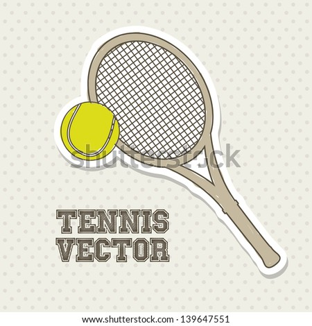 tennis design over cream background vector illustration - stock vector